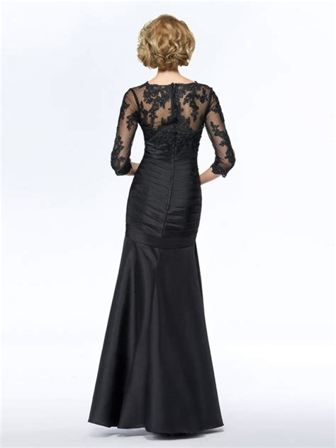 long black  length sleeves lace long mother