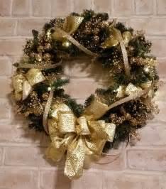 lighted christmas wreath gold holiday door hanger