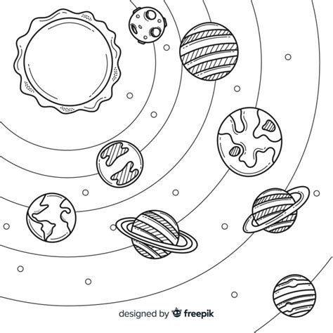 lovely hand drawn solar system composition vector