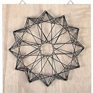 String Art Kit Rosace shape square rough wood 22x22 cm For