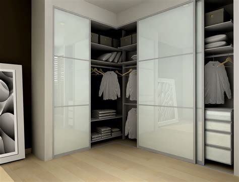 Modern Closet With Frosted Glass Sliding Closet Doors