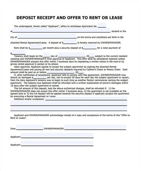 lease receipt templates   word  format