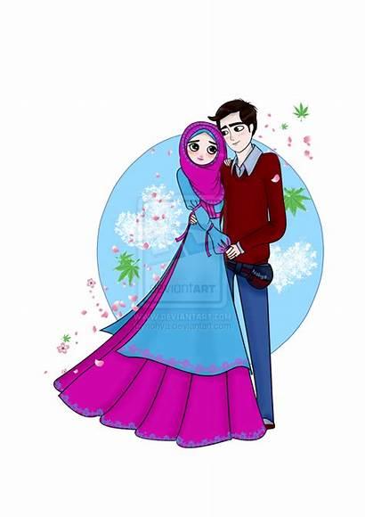 Couple Muslim Cartoon Married Kartun Gambar Pengantin