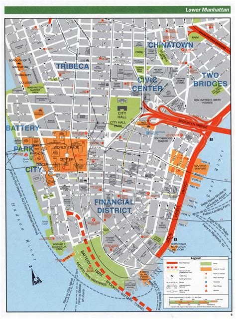large detailed road map   manhattan nyc vidiani