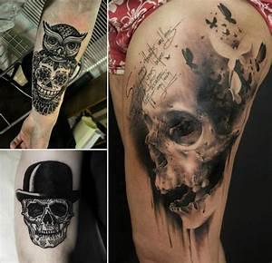 Tatouage Homme Original : tatouage t te de mort original 40 id es memento mori en styles vari s art noir pinterest ~ Melissatoandfro.com Idées de Décoration