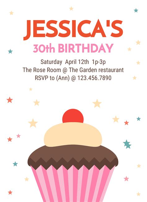 30th Birthday Party Invitation Template Venngage