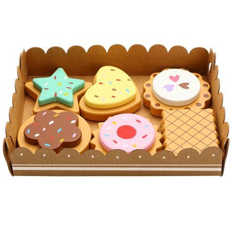 wooden cakes and biscuits set by bee smart