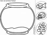 Fish Coloring Bowl Sheet Clipart Pages Library sketch template
