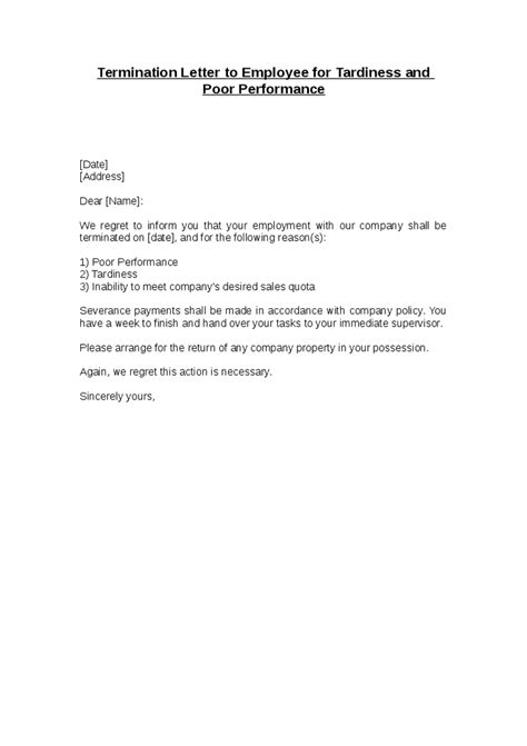 letter of dismissal employment termination letter free