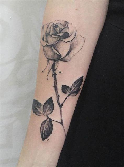 dot work rose flower stick tattoo  arm