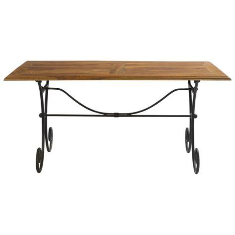 table de salle 224 manger en bois de sheesham massif et fer forg 233 l 160 cm luberon maisons du monde