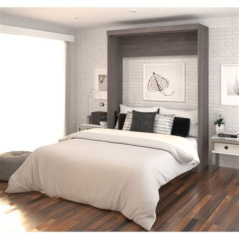Bestar Wall Beds by Bestar Nebula Wall Bed In Bark Grey And White