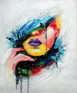 tableau peinture visage femme pop toile moderne