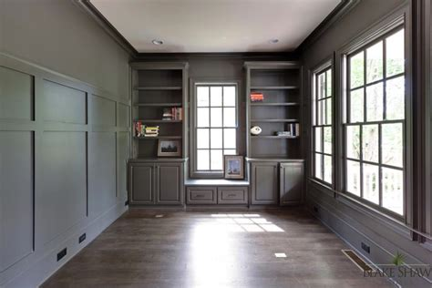 wood paneled office traditional denlibraryoffice