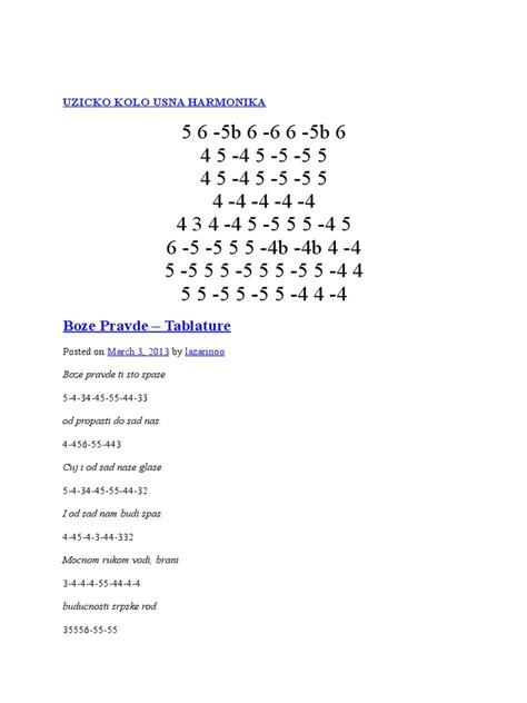 Himna Srbije Boze Pravde Usna Harmonika Tabovi