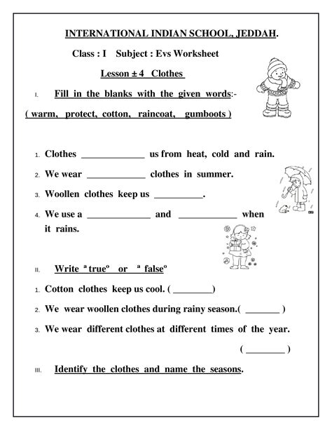 worksheets for class 2 on clothes worksheet exle