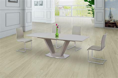 cream glass high gloss extending dining table   gloss
