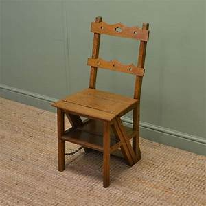 Unusual, Victorian, Arts, And, Crafts, Metamorphic, Library, Steps, Chair