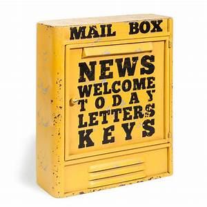 Boite à Clef : bo te cl s en m tal jaune h 36 cm mail box maisons du monde ~ Teatrodelosmanantiales.com Idées de Décoration