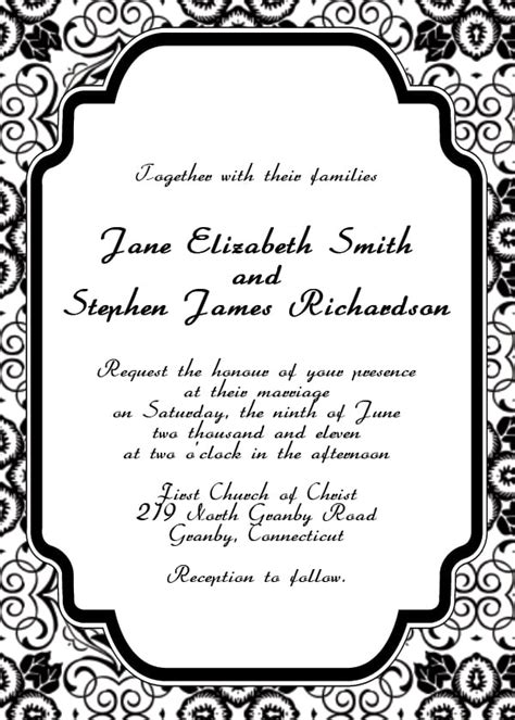Printable Blank Wedding Invitation Template