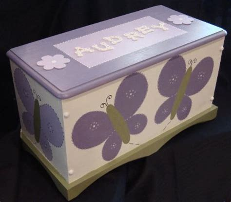 custom personalized hand painted butterfly toy boxtoy chest