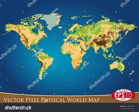 vector illustration physical world map pixel stock vector