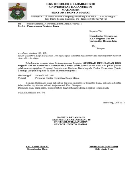 surat permohonan bantuan dana docsharetips