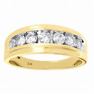 10k mens yellow gold 7 stone diamond engagement ring With 10k gold ring wedding band