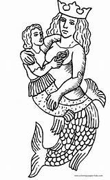 Coloring Merman Mermaid Pages Mermaids Printable Medieval Fantasy Sheets Template H2o Prince Fish sketch template