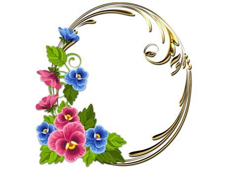 Marco de flores bonitas rosas y azules Marco de flores PNG