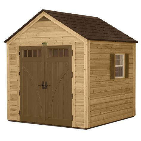 suncast 8 ft x 8 ft cedar and resin hybrid storage shed
