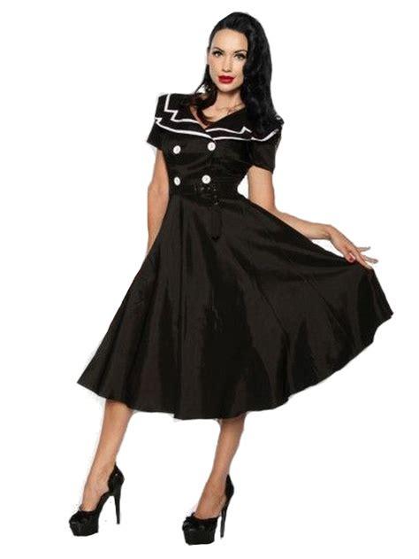 rockabilly kleid mit ärmeln petticoat rockabilly kleid schwarz mit matrosen kragen