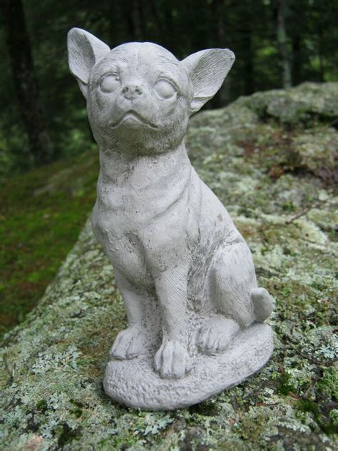 Chihuahua Garden Statue by Chihuahua Statue Unpainted Small Concrete Cement