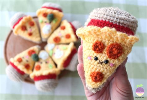 crochet cuisine amigurumi food combo pizza crochet pattern happiness is a slice of pizza