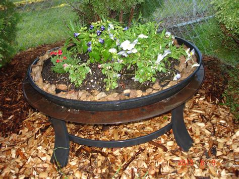 Old Fire Pit I Turned Into A Planter  Flowers Pinterest