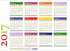 Home Life Weekly » Printable Calendar 2017