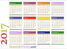 Home Life Weekly » Printable Calendar 2017 Home Life Weekly