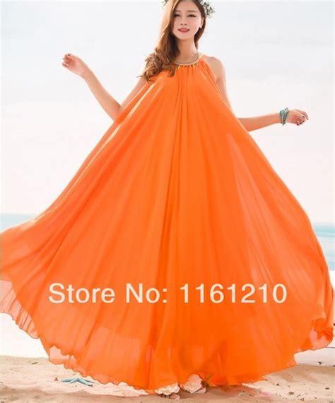 Orange Summer Bridesmaid Sundress Holiday Beach Maxi Dress Beach Wedding Party Guest Sundress