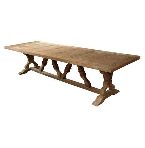 distressed trestle dining table linley heavy distress farm house 14 person trestle dining 6791