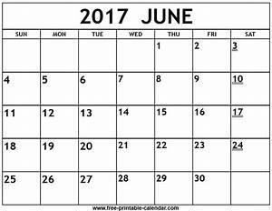 Printable 2017 June Calendar