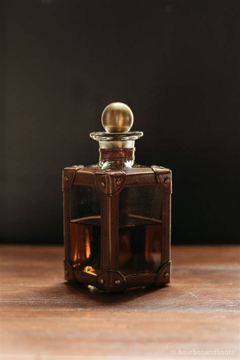 High End Kitchen Must Haves by Equestrian Leather Wrapped Glass Decanter 112 Bourbon