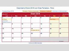 Calendario Enero 2018 para imprimir Perú