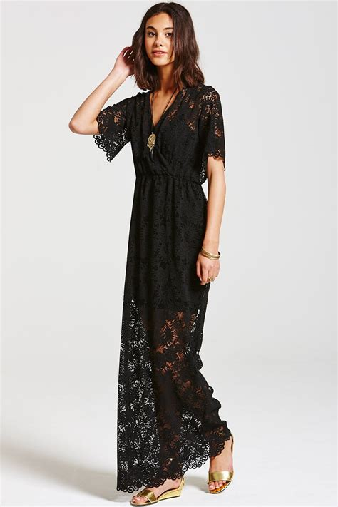 Maxi Lace outlet on black layered lace maxi dress