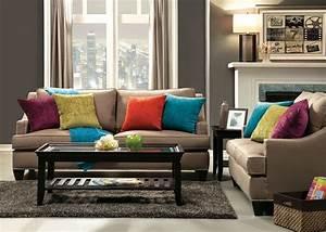 Upholstered Beige Sofa Nailhead Trim