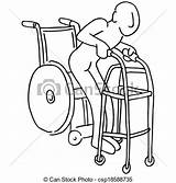 Walker Wheelchair Clipart Clip Senior Lady Vector Moving Exercising Drawing Illustration Line Walking Eps Rehab Icon Elderly Canstockphoto Illustrations Graphics sketch template