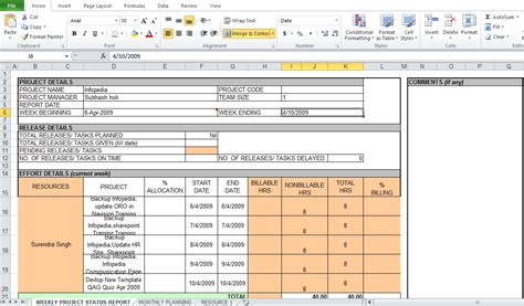 weekly project status report template excel tmp