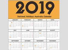 Free National Printable Holidays Australia 2019 Templates