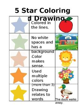 star coloring  drawing rubric  sarah lapaz tpt
