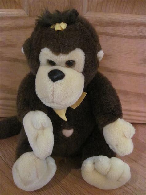 vintage  brown plush monkey yellow ribbon heart belly