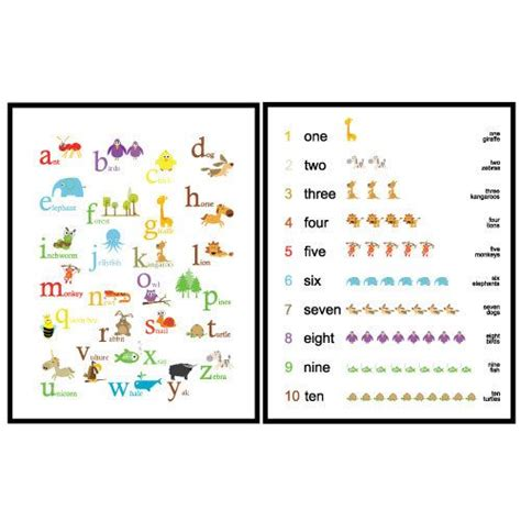 Some of our most popular kids posters are the. Set of 2 Posters - Art for Kids room or Nursery - ABC and 123 Animals - 8X10- Primary colors ...